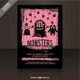 Monster party flyer template