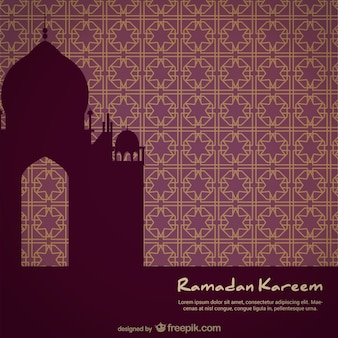Mosque silhouette on mosaic background