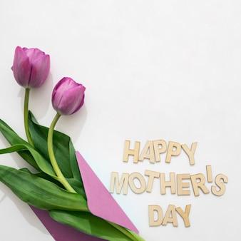 母の日レタリングと封筒の紫のバラ