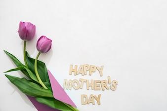 母の日のレタリングと封筒のバラ
