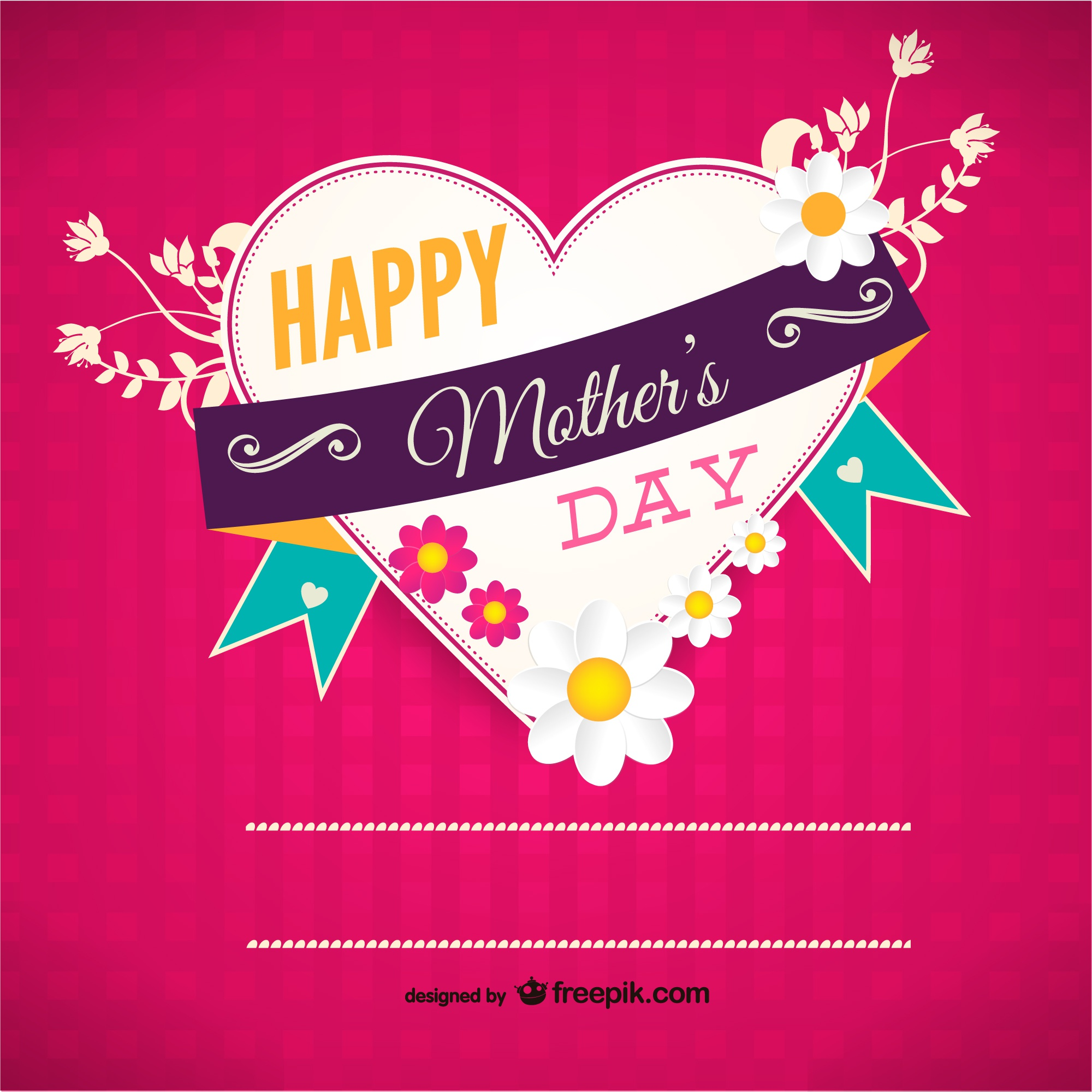 Mother's day vector heart template
