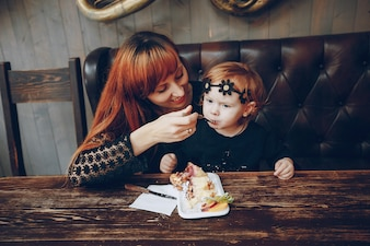 Motherhood together outdoor two cheerful