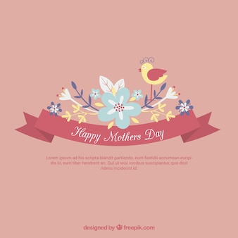Mothers day card in spring style