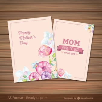 Mothers day card in watercolor style