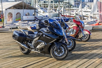 Motorbikes in a pier