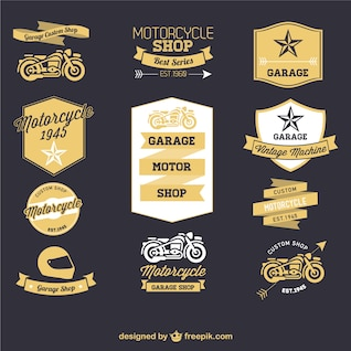 Motorcycle retro labels set