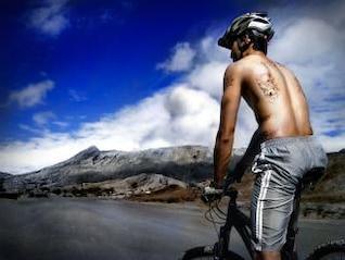 Mountain biker, bicycle