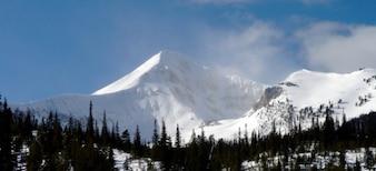 Mountain in white snow