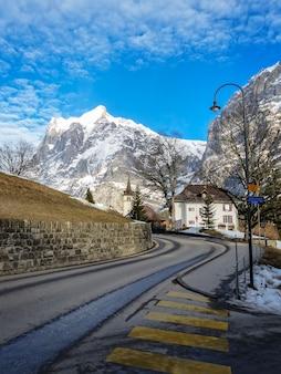 Mountain swiss view destination snow sky