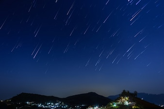 Moutain on a background of the starry sky.