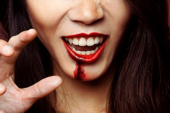 Mouth of girl with zombie makeup