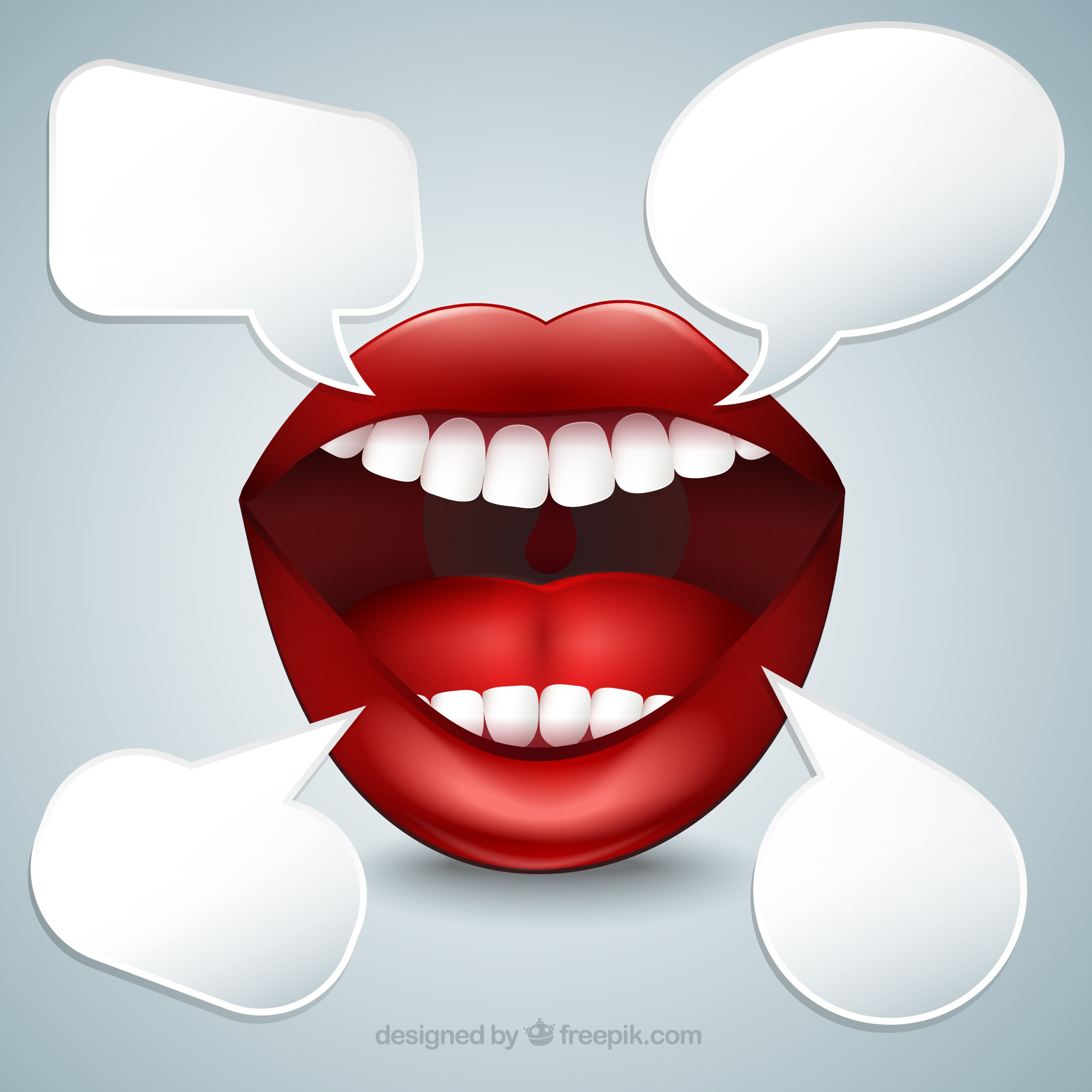 Mouth with speech bubbles