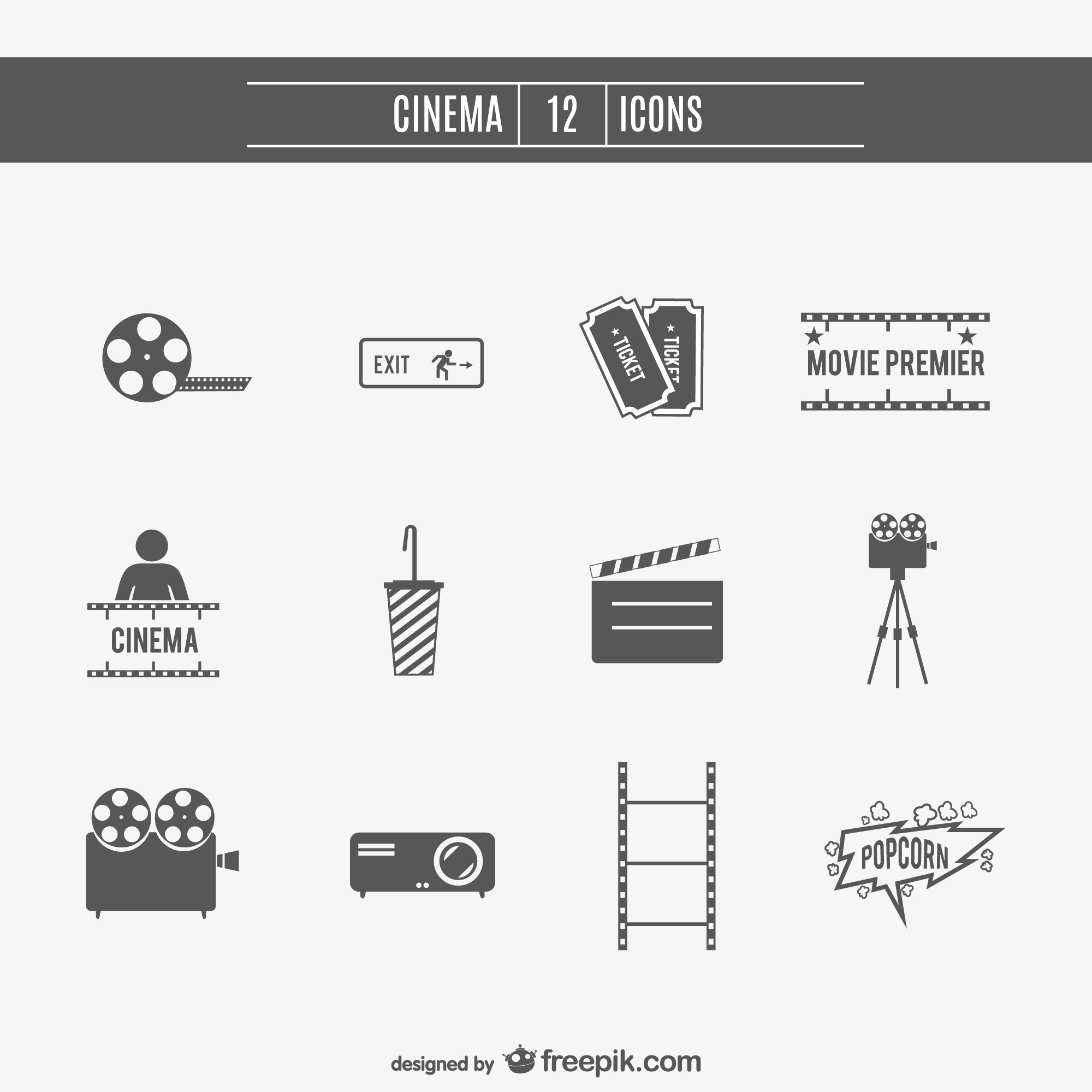 Movie cinema icons set