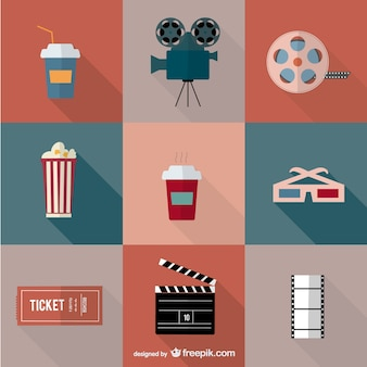 Movie cinema vector icons