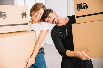 Moving concept with romantic couple