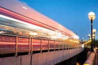Moving tram car