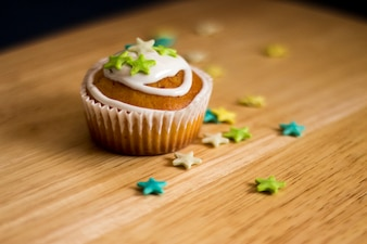 Muffin with stars decoration