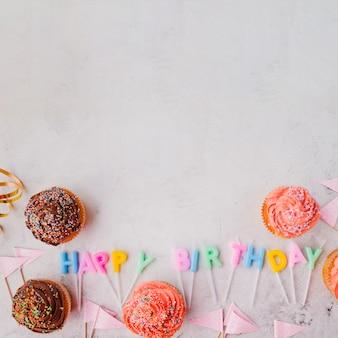 Muffins lying around happy birthday writing