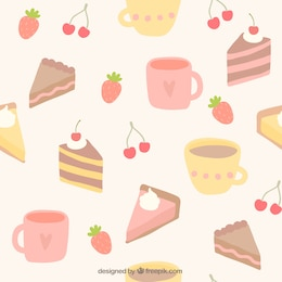 Mugs and cakes pattern