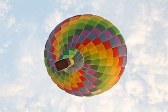 Multicolor hot air balloon in the sky