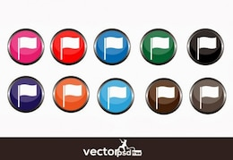 Multicolored flag icons vector pack