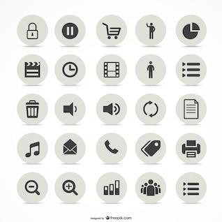 Multimedia simple icons set