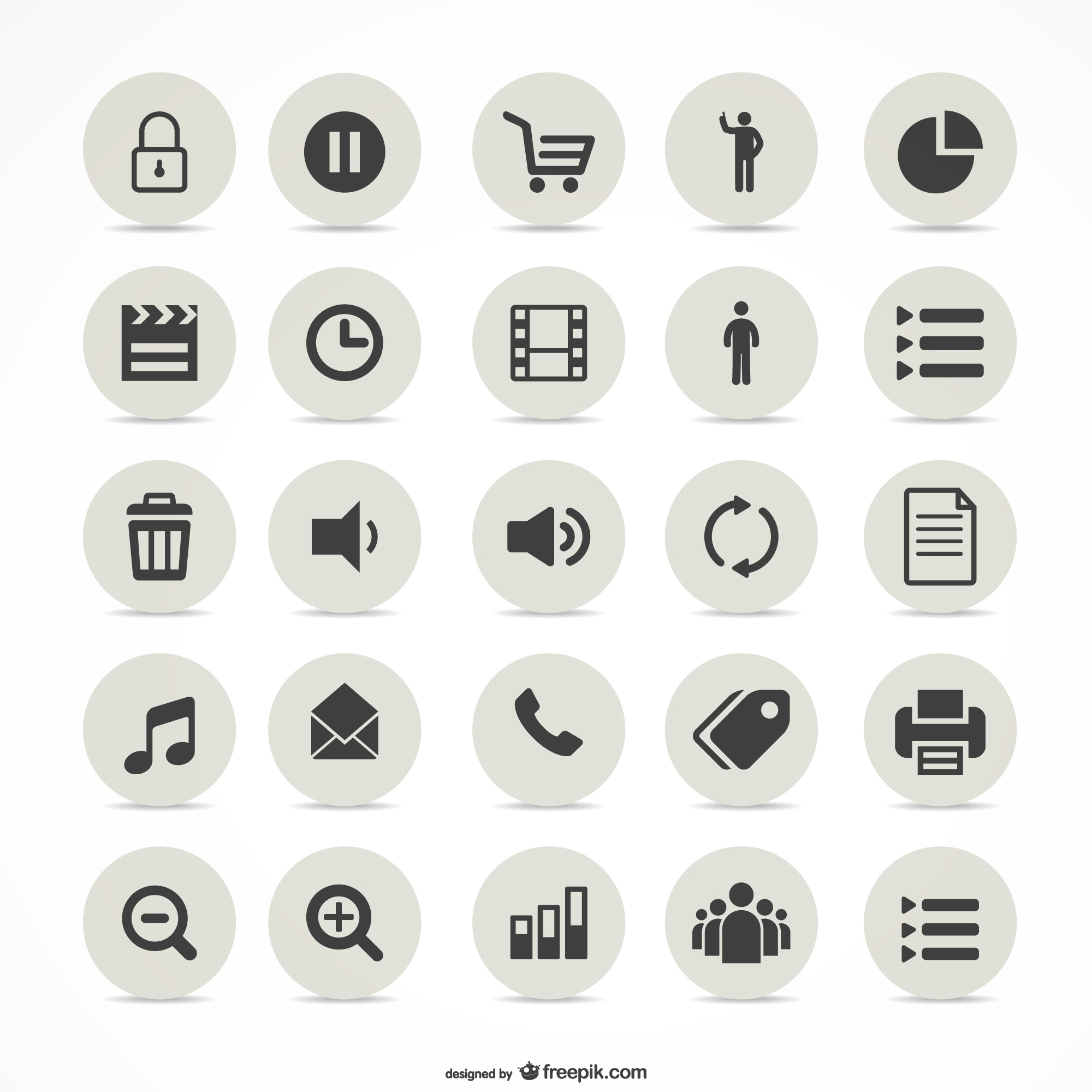 Multimedia simple icons set
