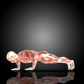 Muscular man doing pushups