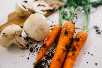 Mushrooms and carrots