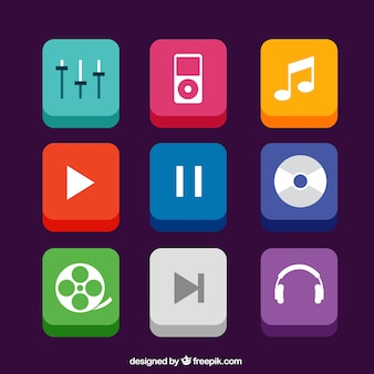 Music app icons in 3d style