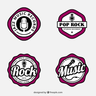 Music badges in retro style