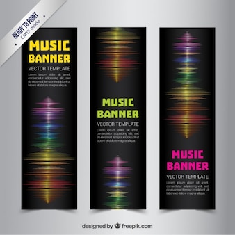 Music banners with sound waves
