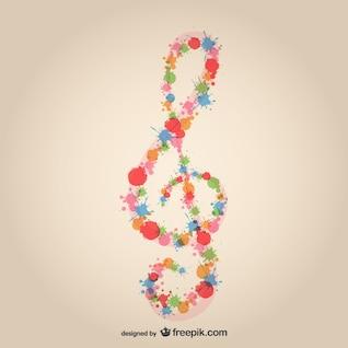 Music clef splatter design