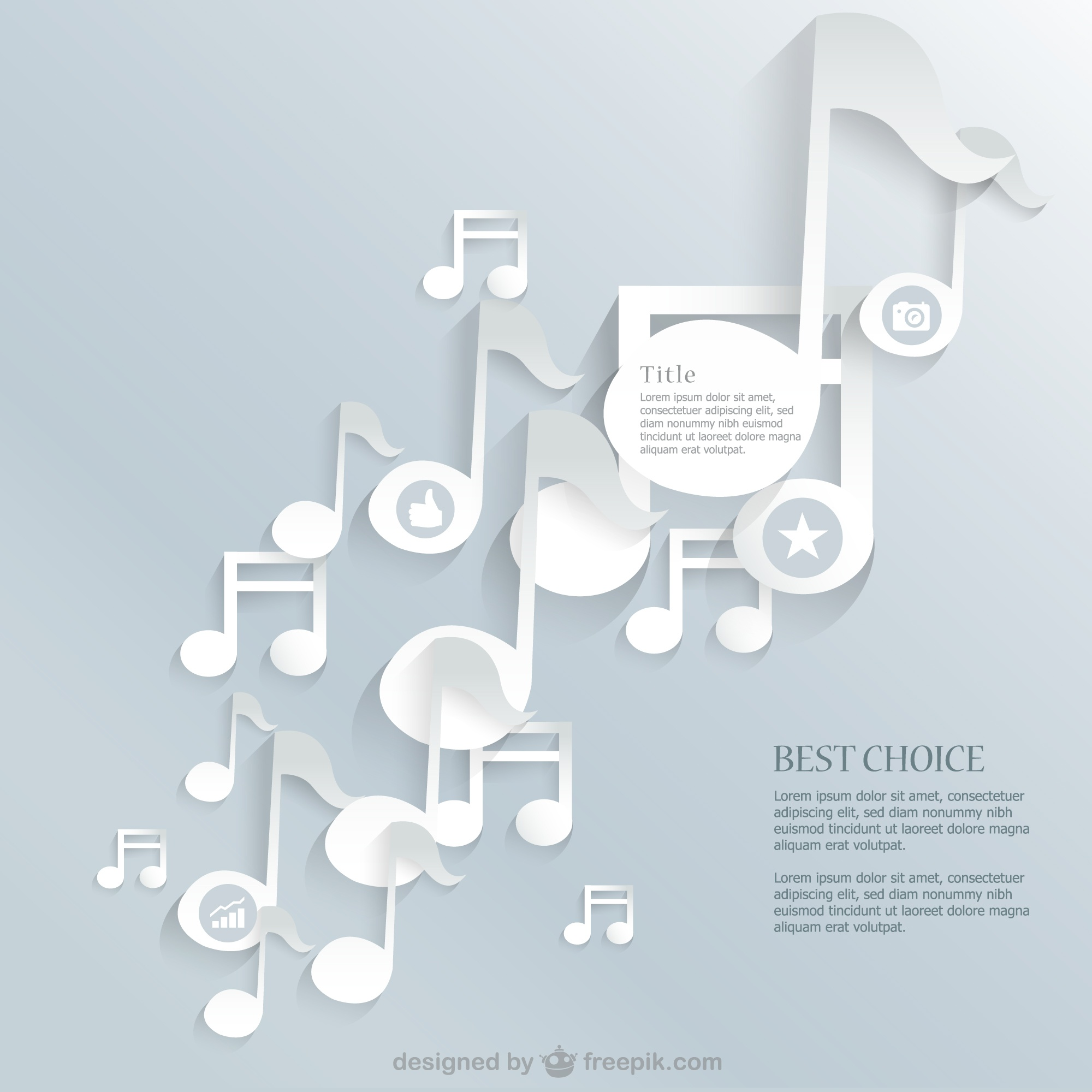 Music notes paper style vector background