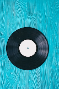 Music records on wooden background