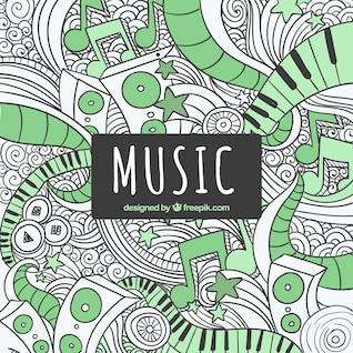 Music scribbles graffiti
