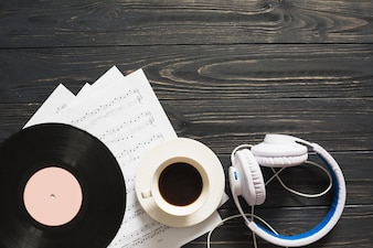Music still life with coffee