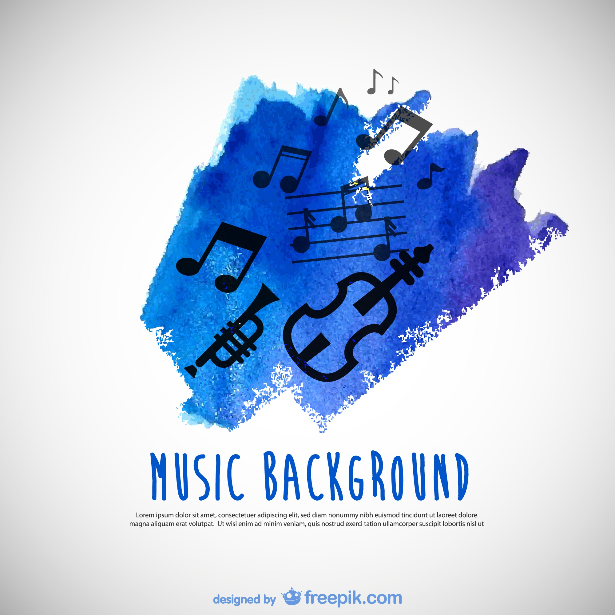 Music watercolor background vector