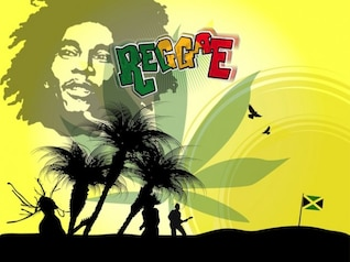 musician bob marley and flag vector