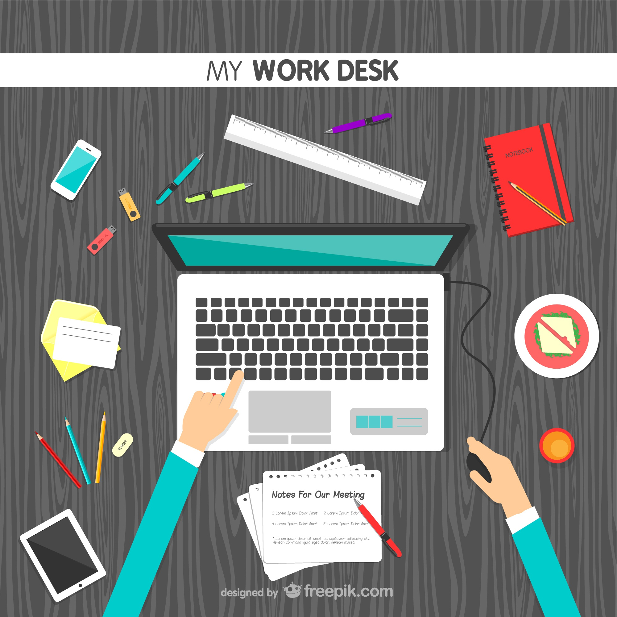My work desk vector