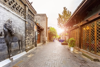 狭い中国の町中国古い家