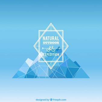 Natural adventure badge with polygonal mountain
