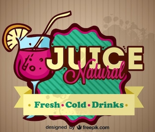 Natural Fresh Fruit Juice Retro label Design
