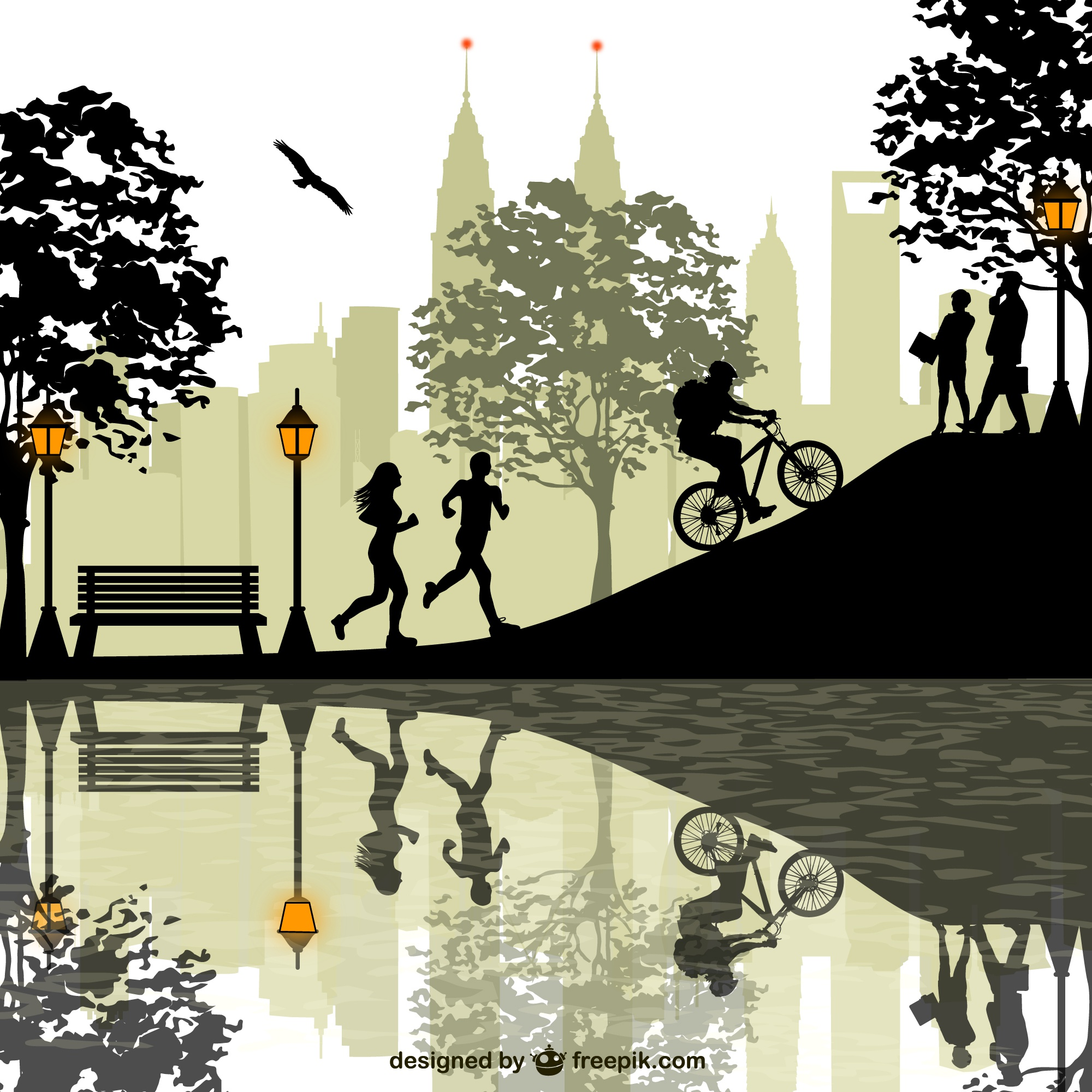 Natural park people vector