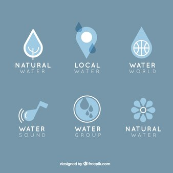 Natural water logos collection