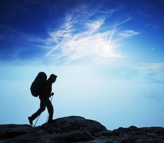 Nature climbing backpack mountain cloud