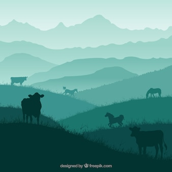 Nature landscape with animals