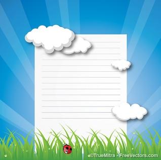 Nature tropical signboard cloud background vector set