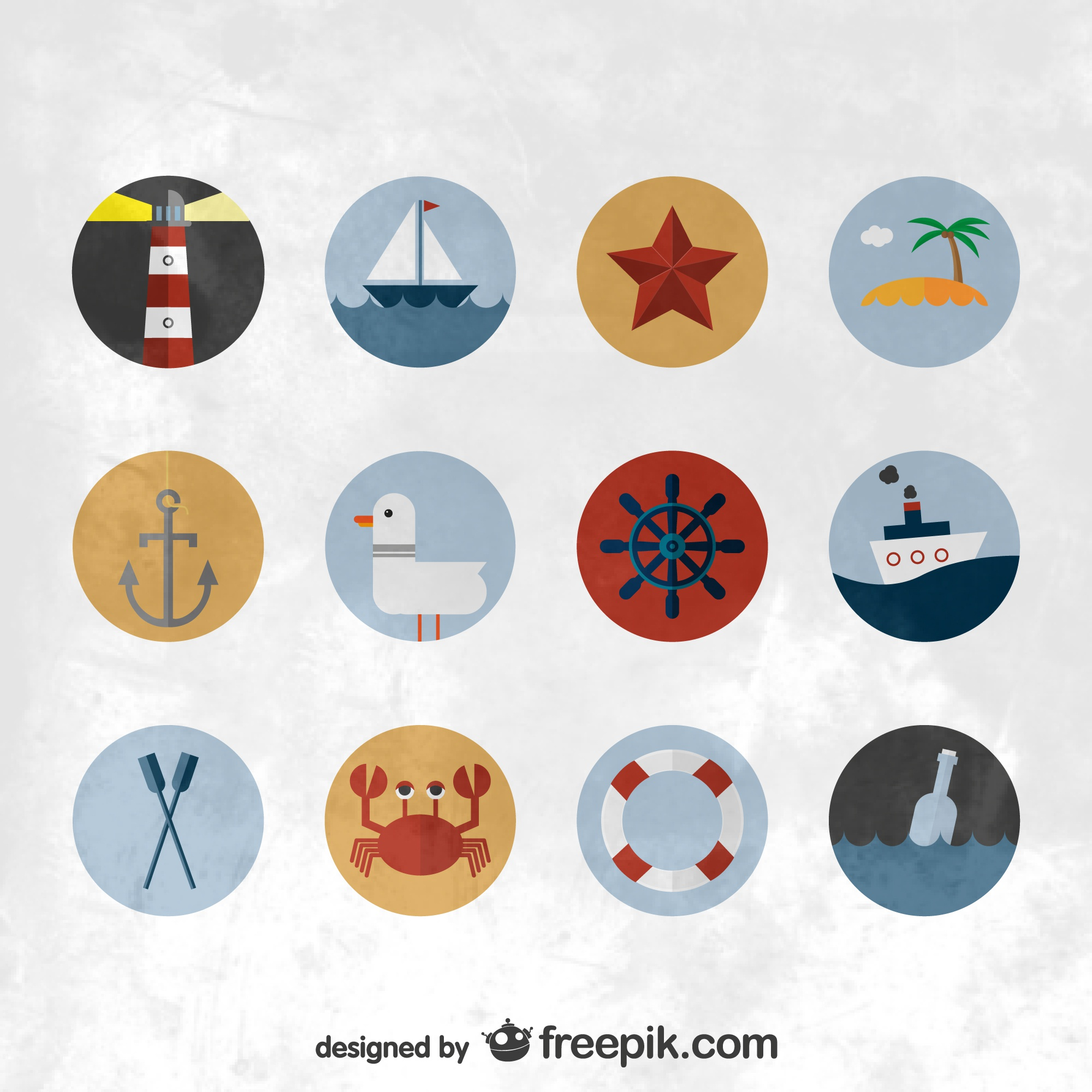 Nautical flat icons set