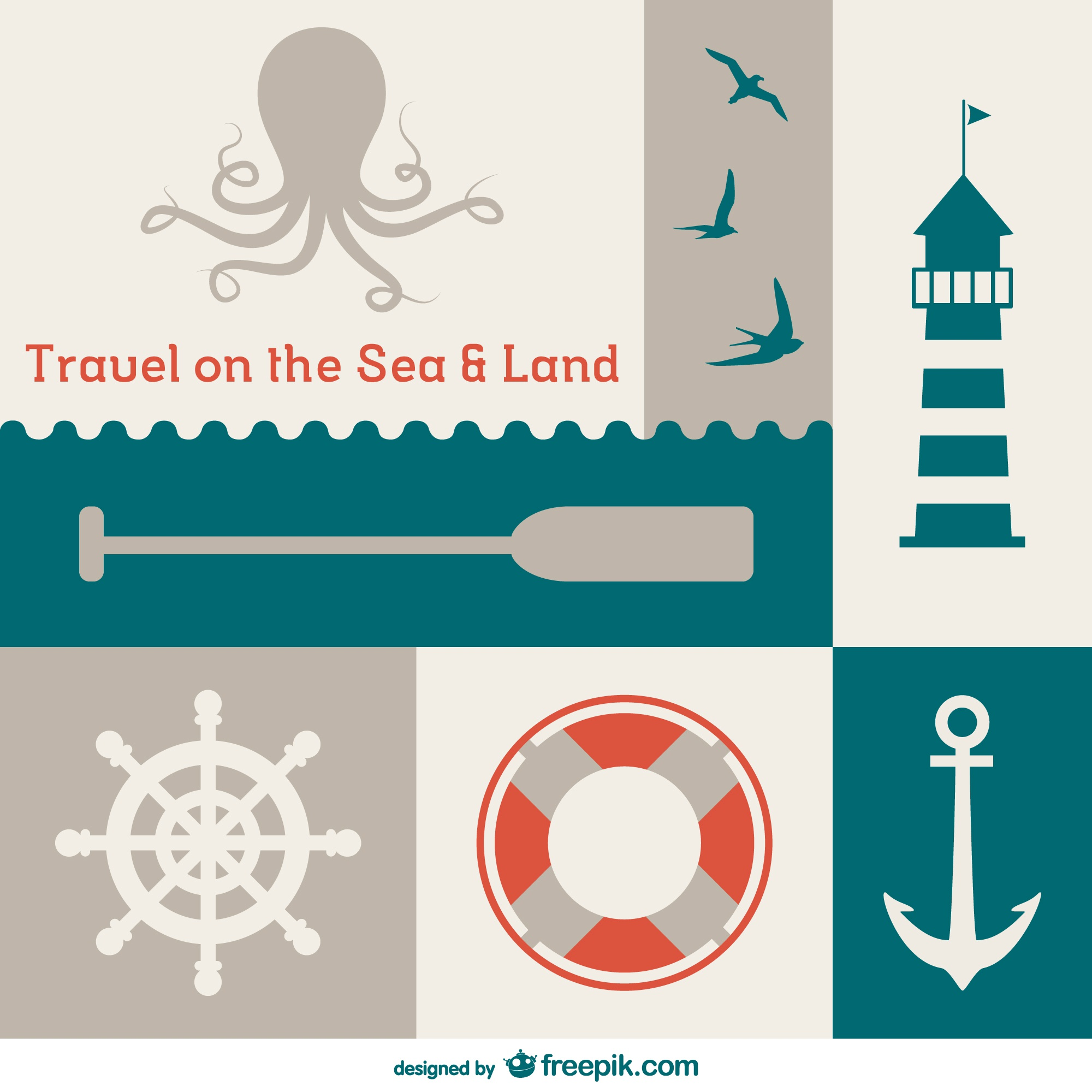 Nautical flat vector template